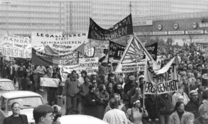 Banners and demonstrators in East Berlin