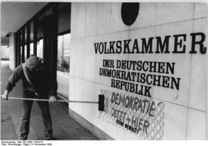 Slogan pasted on East German parliament - Democracy Here and Now!